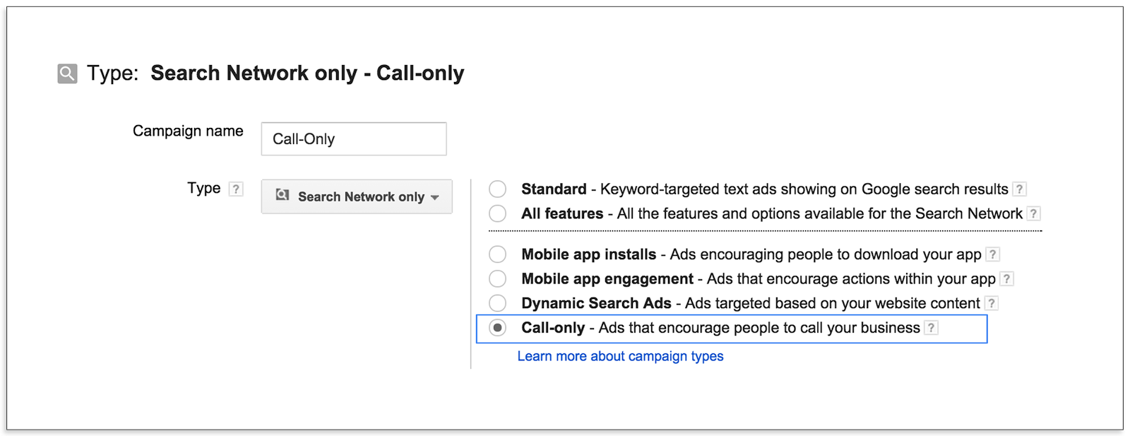 AdWords Call Only Campaign