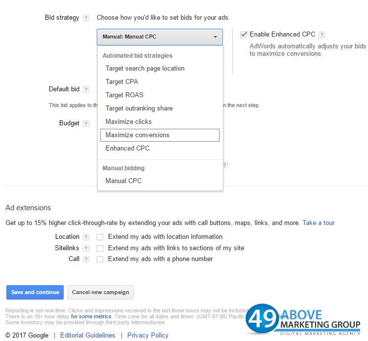 AdWords Maximize-Conversions-Strategy